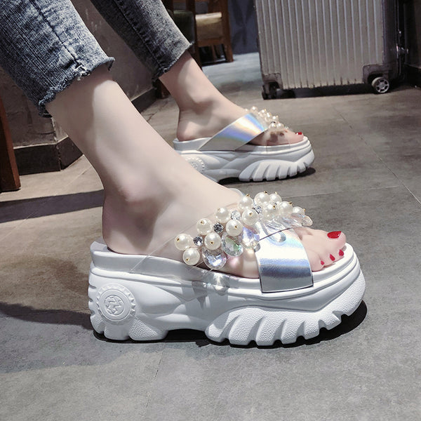 2019 summer new out wearing transparent drag sequined beaded Korean rhinestone sandals and slippers