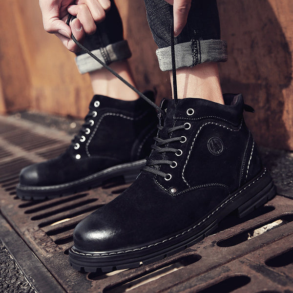 Leather casual tooling boots