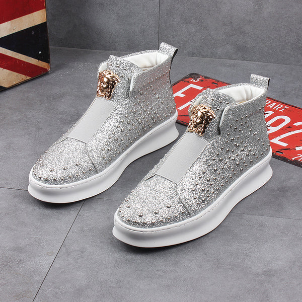 Sequined rivet high-top shoes