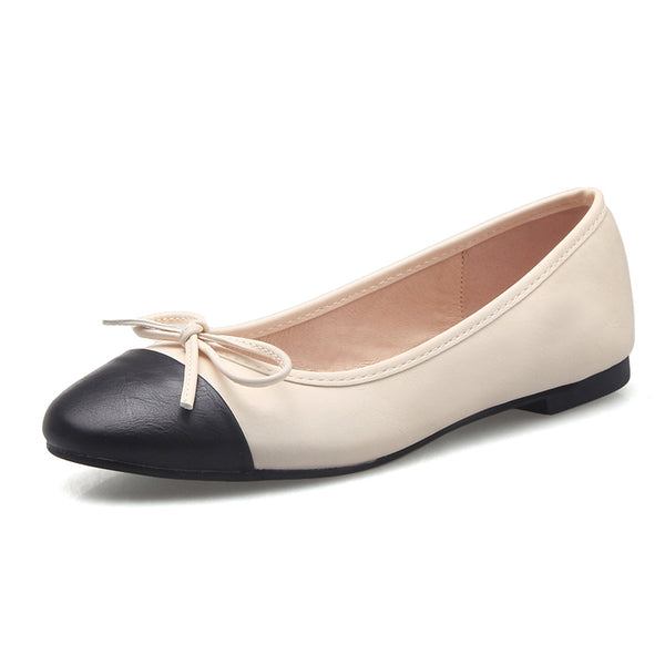 Bow flat shoes women's shoes