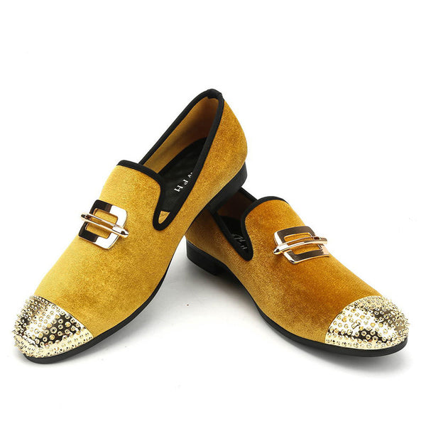 New gold velvet men's shoes