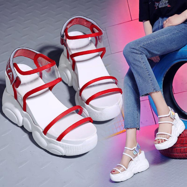 2019 new wild net red fairy wind platform sandals