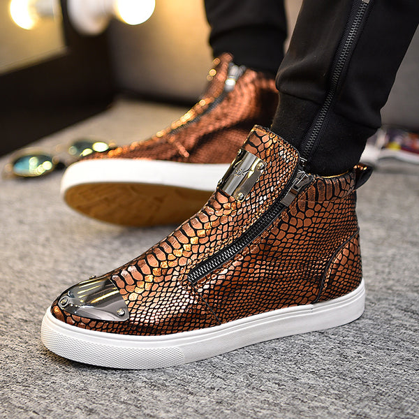 Casual Snakeskin pattern high top shoes