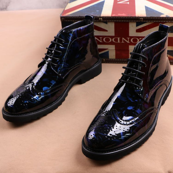 Patent leather British ankle boots