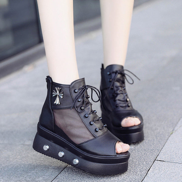 2019 new mesh sandals female wedge with thick sole fish shoes