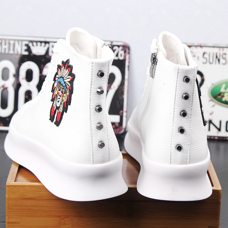 Leather high-top white shoes