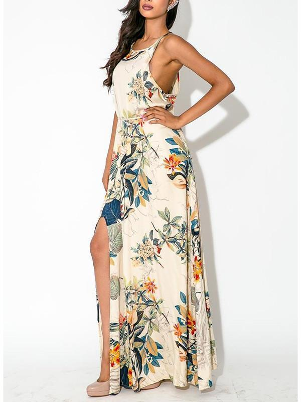 Elegant Floral Bohemia Spaghetti Straps Round Neck Side Split Maxi Dress