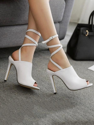Solid Strappy Peep-toe Heels Shoes