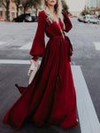 V-neck Long Sleeves Belted Maxi Dress