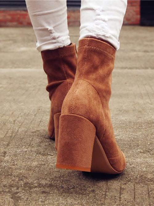 Fashion Solid Zipper Chunky Heel Martin Booties