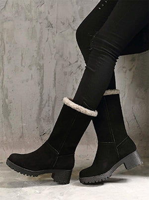 Solid Mid Heels Short Snow Boots