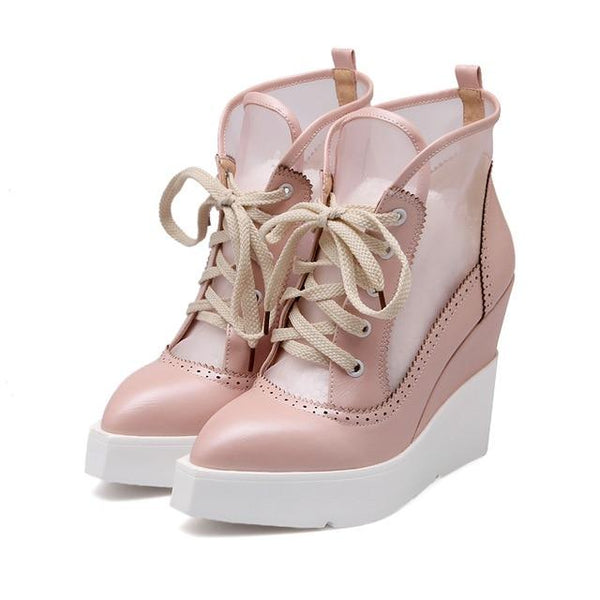 2019 Summer High Heels Wedge Platform Women Short Boots