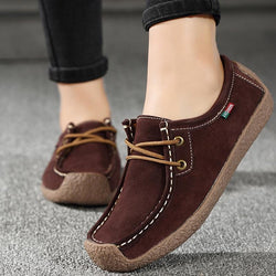 Genuine Leather Lace-up Woman Foldable Moccasins