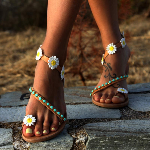 2019 Summer Ladies Handmade Sweet Flower Ankle Strap Flat Sandals