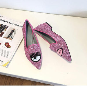 New Women Shoes Flat& Loafers Pink Sliver Black Gray Glitter Big Eyes Pointy Toe Flats