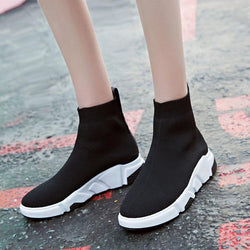Women stretch socks fashion woven shoes