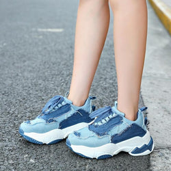 vintage blue denim sneakers women