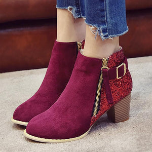 Boots - Red Bling Zip Designer Ankle Ladies boots