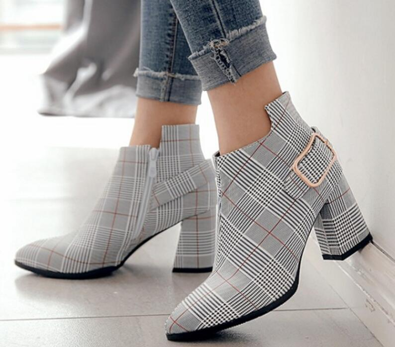 Ladies Chunky High Heels Leather Ankle Boots