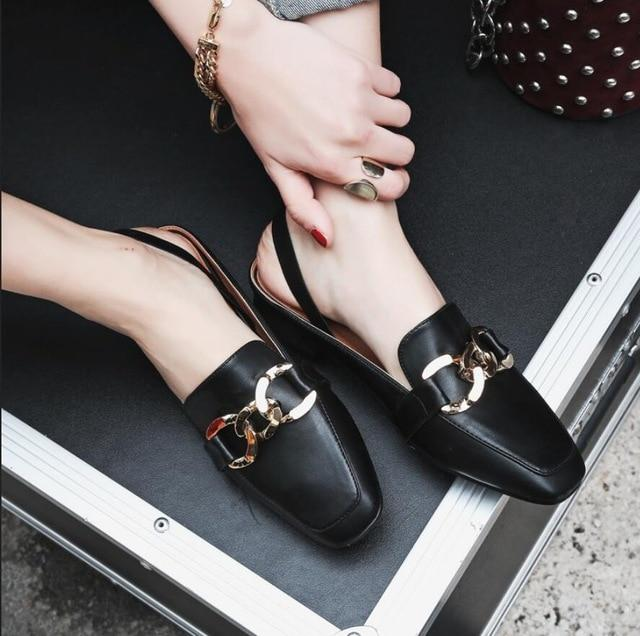 Plus size woman sandals tassel chains metal buckle design slippers