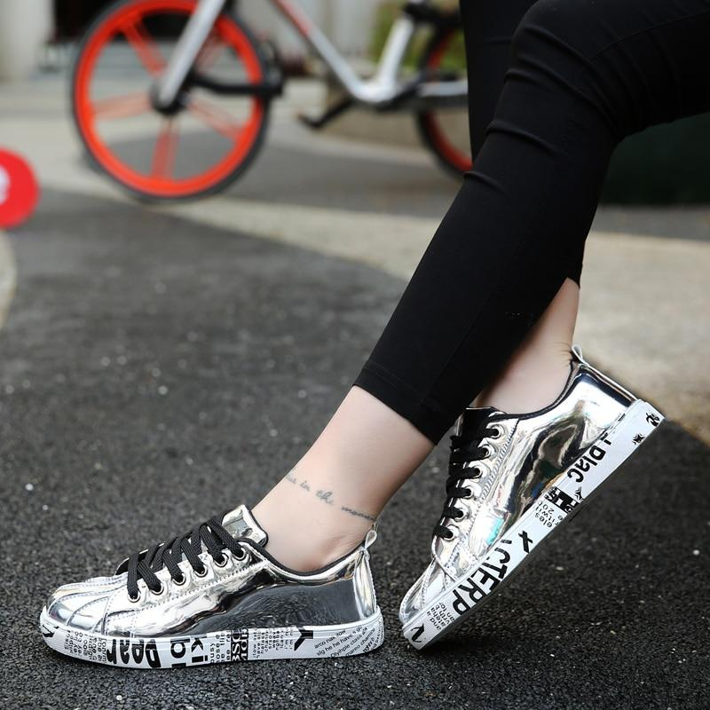 2018 Trendy Ladies Lace-up Bling Mirror Leather Casual Shoes