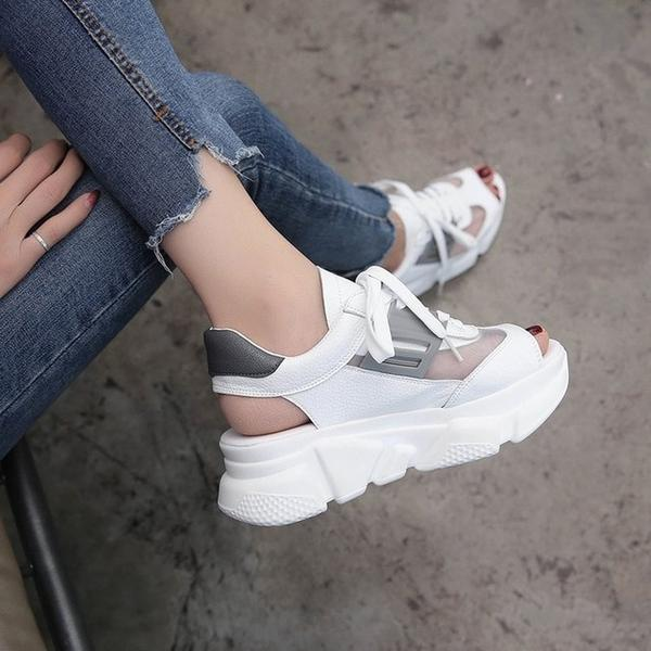 Women's Shoes - 2019 Summer Fish Mouth Sports Sandals With Breathable Mesh Pu Leather Casual Shoes