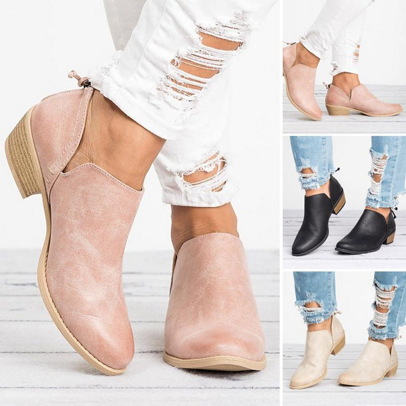 Women's Shoes - Female Square Heel Slip on Women High heels Shoes