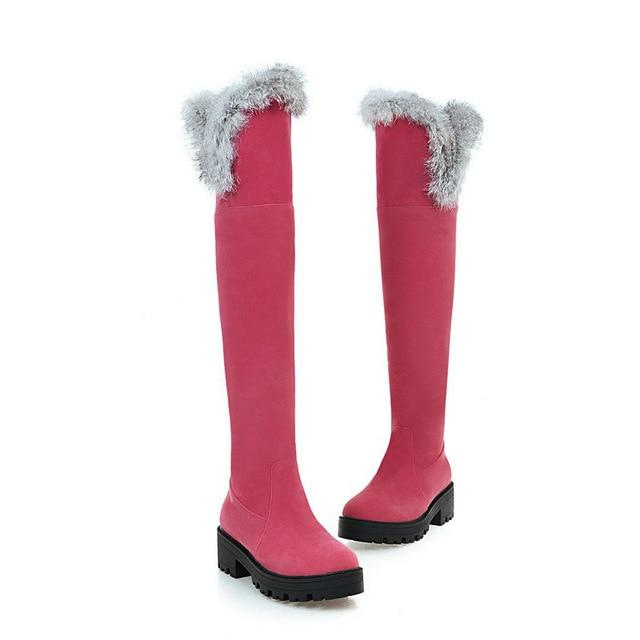 Ladies Winter Sexy Faux Fur Over Knee Snow Boots
