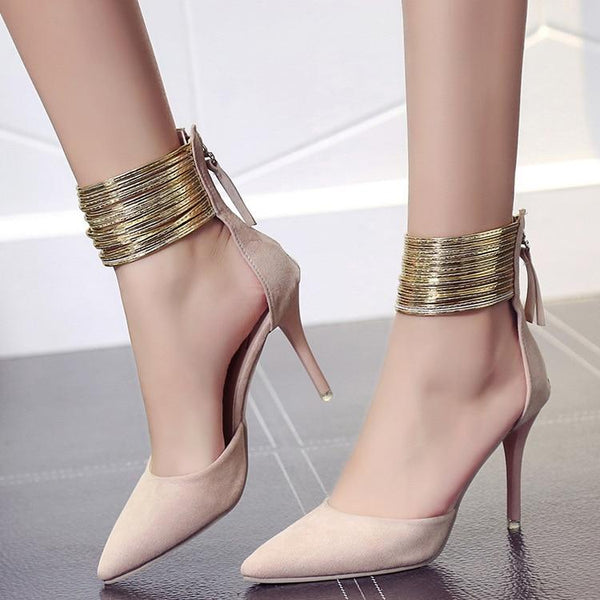 Women Pointed Toe Flock Pumps