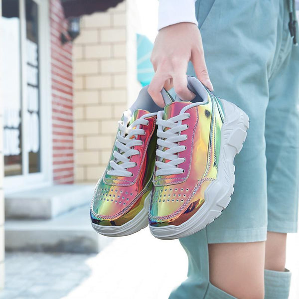 Colorful Women Sneakers Trendy Patent Leather Woman Daddy Shoes