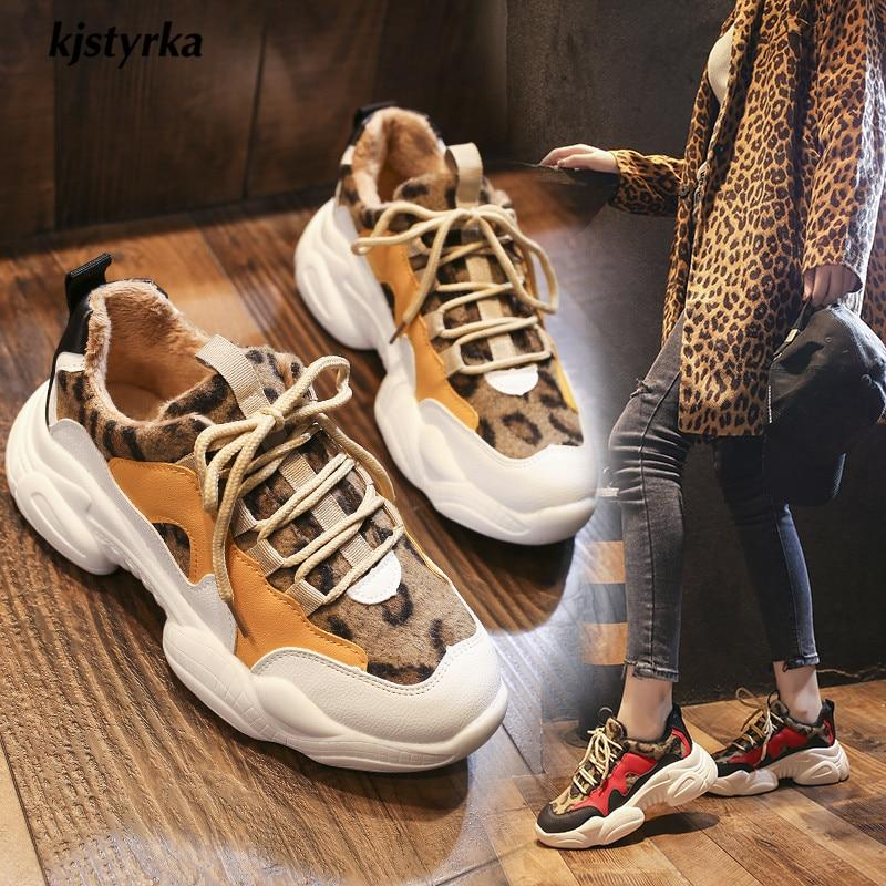 2019 new leopard mixed colors plush Fashion high quality women sneakers