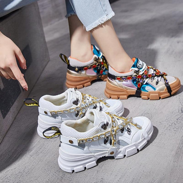 2019 Hugely Popular Chunky Sneakers Women Mesh Crystal Chain Wild Shoes