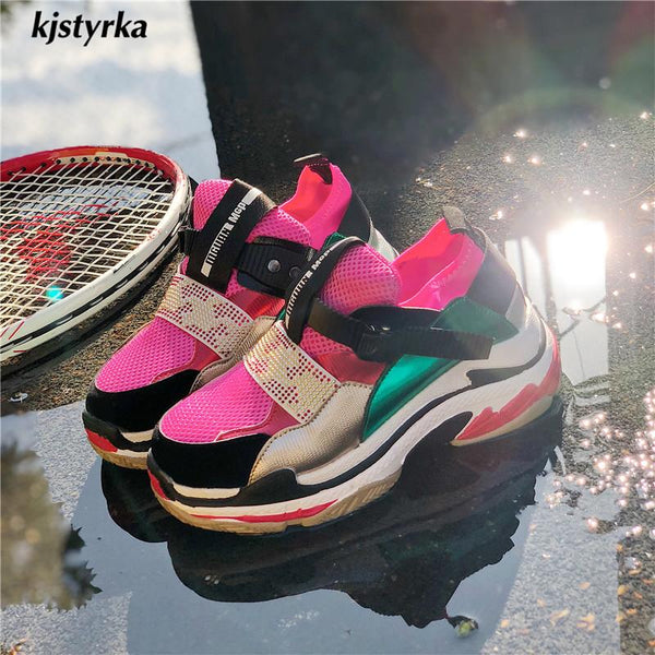 2019 fashion mixed colors women sneakers tenis feminino lady Thick bottom  shoes