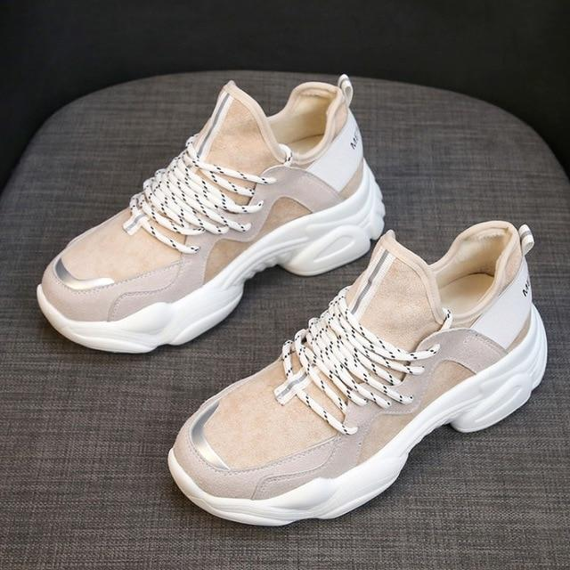 2019 Spring Women Casual Shoes  Flats Fashion Lace-Up Sneakers
