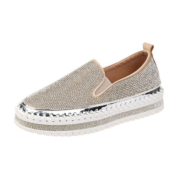 Women Luxury Rhinestones Slip on Platform Casual Shoes