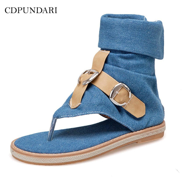 Women's Sandals-'2019 Ladies Denim Flat sandals for women Platform Sandals