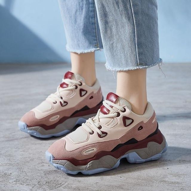 2019 fashion spring women's  genuine leather  sneakers shoes