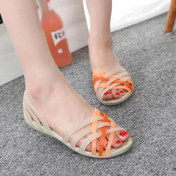 Women Flat Sandals Jelly Shoes Peep Toe Beach Ladies Slides Candy Rainbow Flats