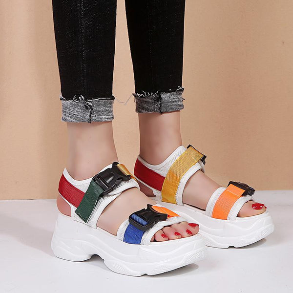2019 New Fashion Women Platform Sandals Ladies Casual Peep-toe Wedges Shoes