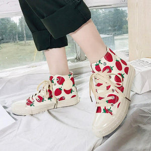 2019 new women strawberry printed canvas casual shoes lace-up high-top shoes