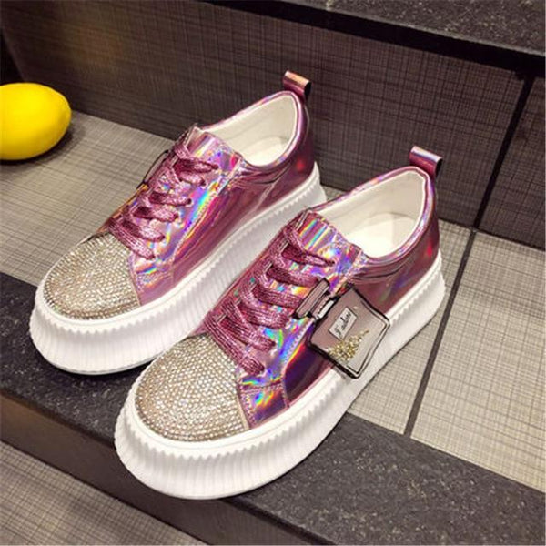New Luxury Rhinestones Sneakers Lace Up Flat Shoes