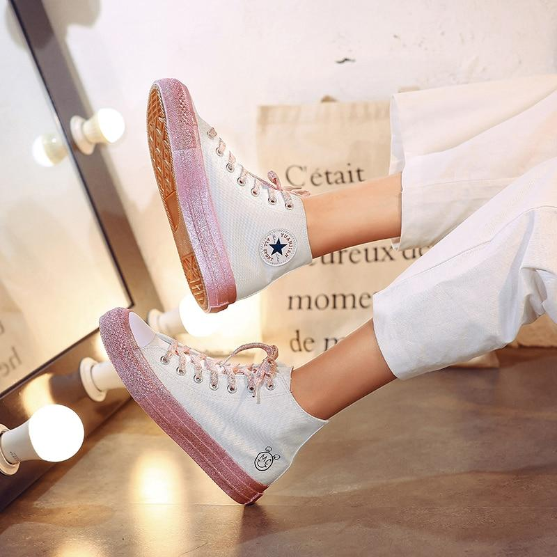 Women's Casual Canvas Shoes Spring Lace-up Comfortable Lightweight High-top Trend Love Shoes