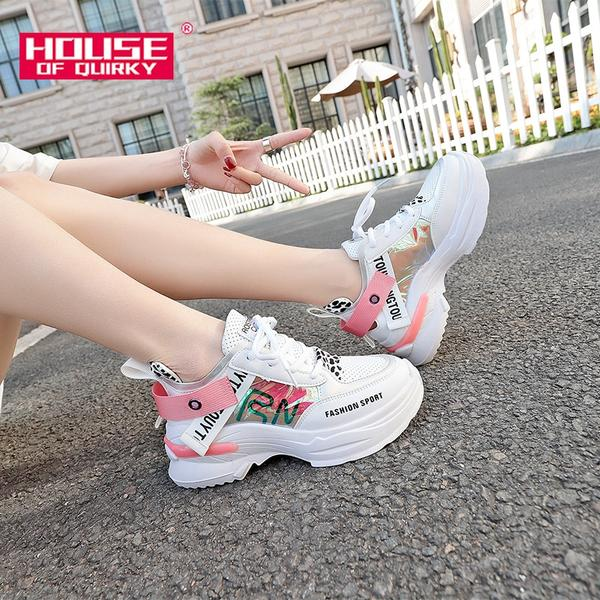 Female Breathable Sneakers Sexy Round Toe Thick Bottom Sports Shoes