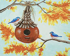 Autumn Birdhouse, Adult Canvas Design - 2.5 Hours