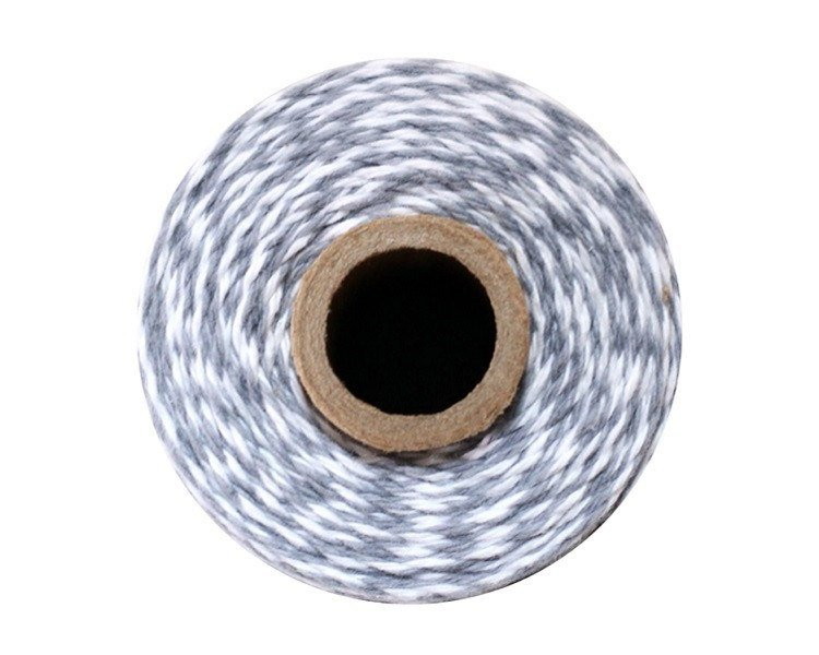 Stone Gray and White Baker's Twine 240 Yards Spool