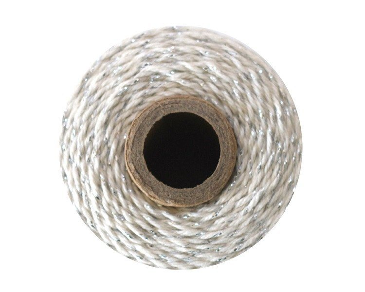 Silver and White Baker's Twine 240 Yards Spool