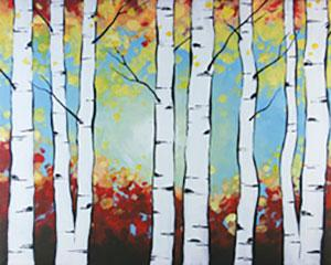 Birch Trees, Adult Canvas Design - 3 Hours