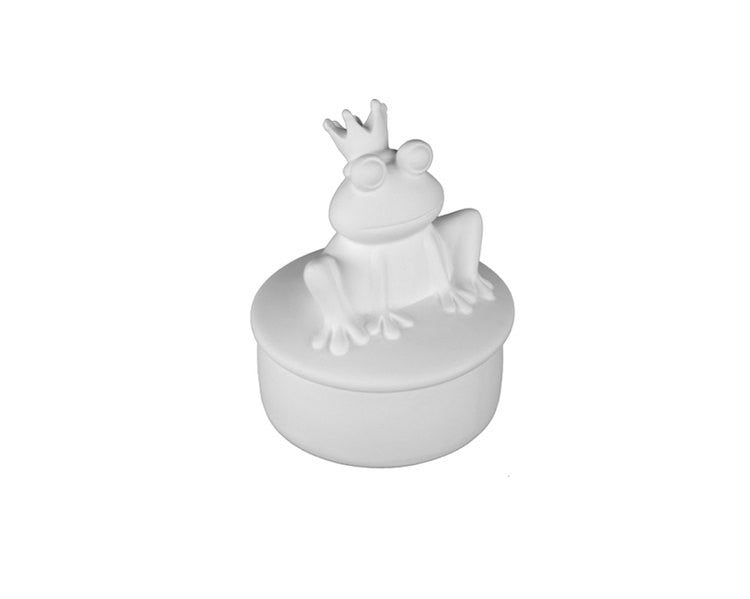 Ceramic Bisque - Ceramic Bisque Prince Charming Frog Box, 1 Pc