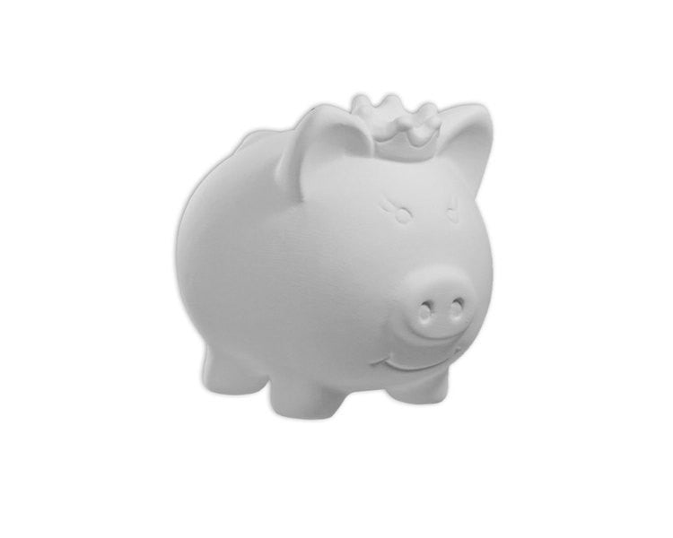Ceramic Bisque - Ceramic Bisque Princess Pig Bank, 1 Pc