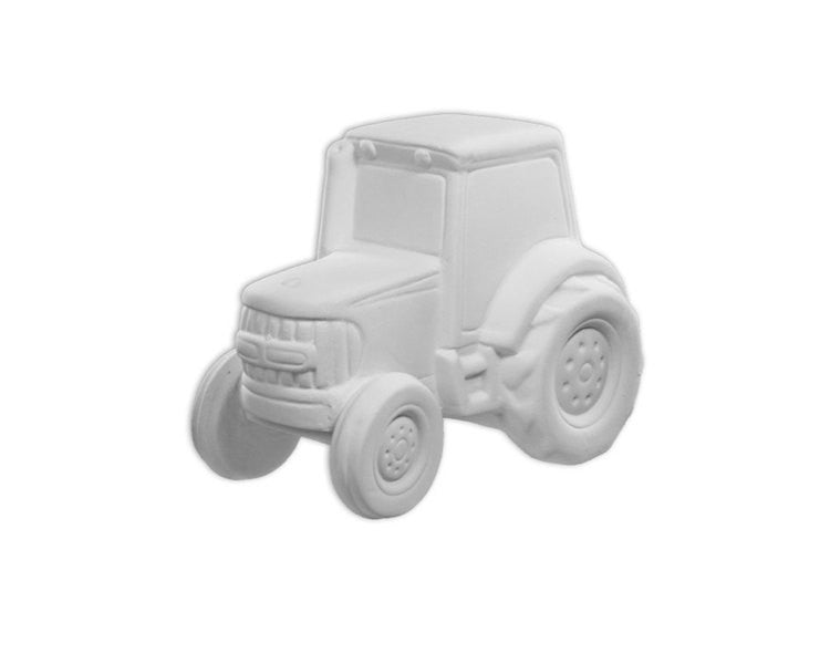 Ceramic Bisque - Ceramic Bisque Tractor Bank, 1 Pc